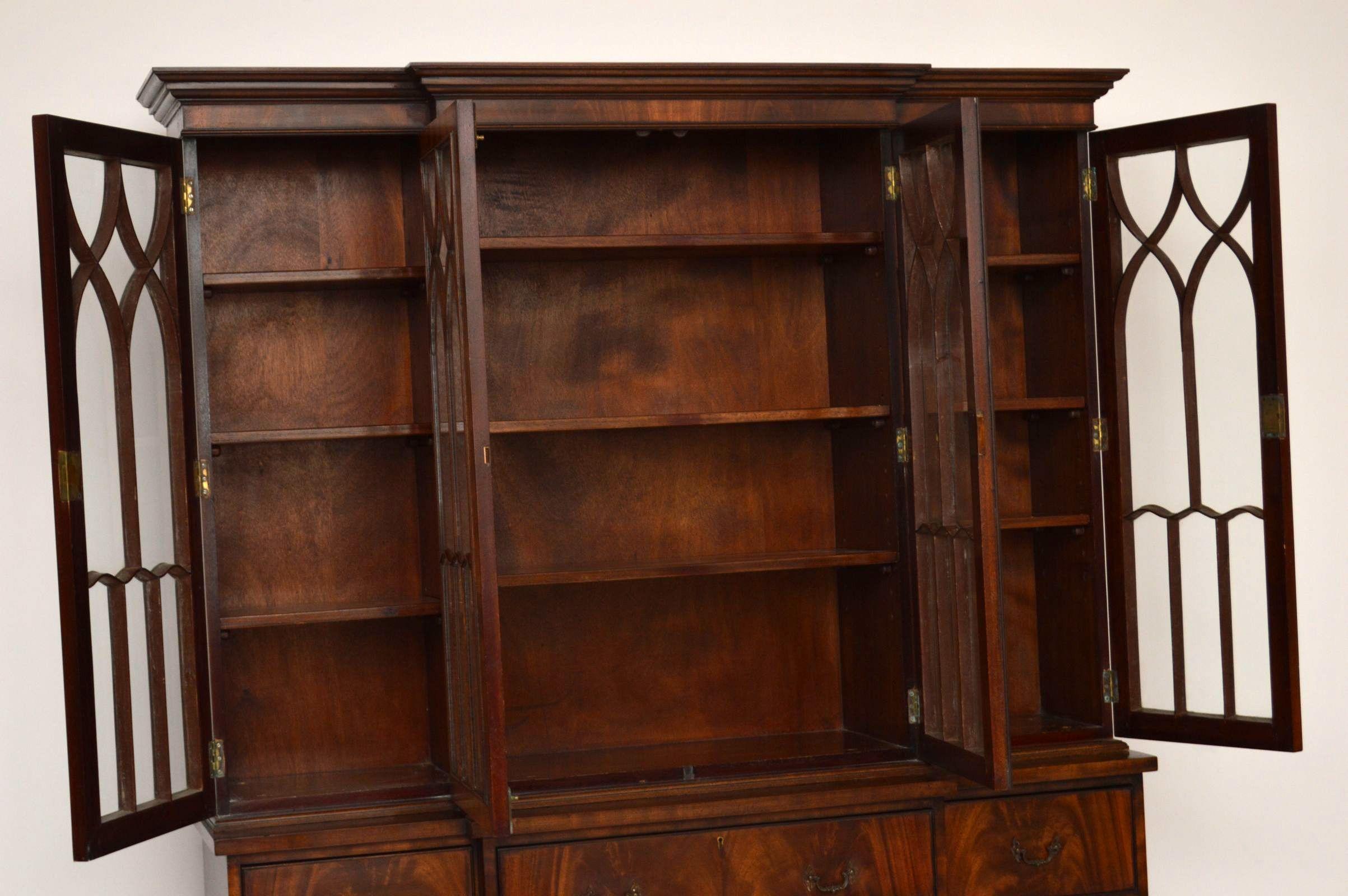 antike mahagoni vitrine sekret r massiv original b cherschr nke englische antiquit ten. Black Bedroom Furniture Sets. Home Design Ideas